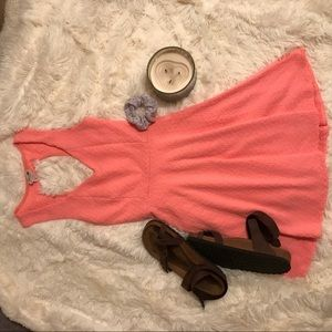 Skater fit and flare coral dress